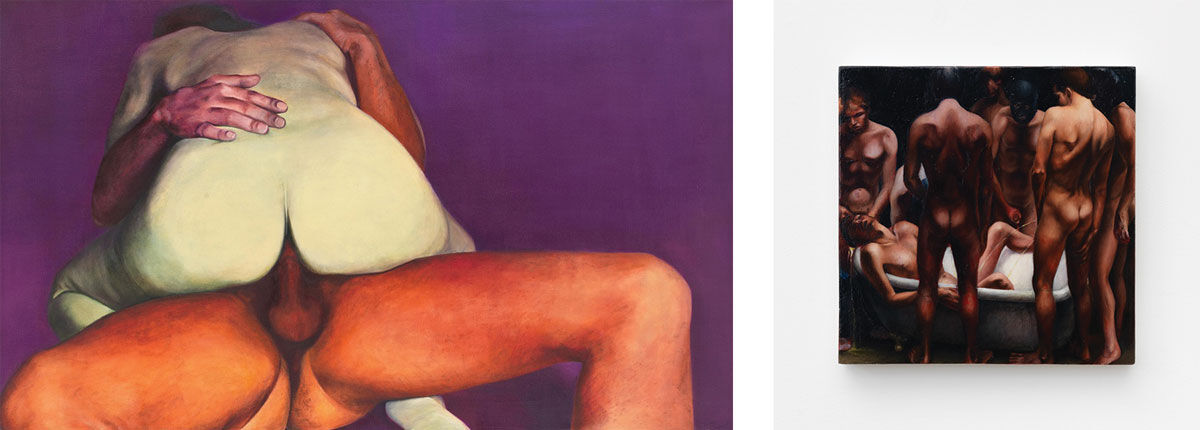 Left: Joan Semmel, Purple Passion, 1973.© 2016 Joan Semmel/Artists Rights Society (ARS), New York. Courtesy of Alexander Gray Associates, New York; Right: Monica Majoli, Untitled (Bathtub Orgy), 1990. Courtesy of the artist and Air de Paris, Paris. Images courtesy of Maccarone.