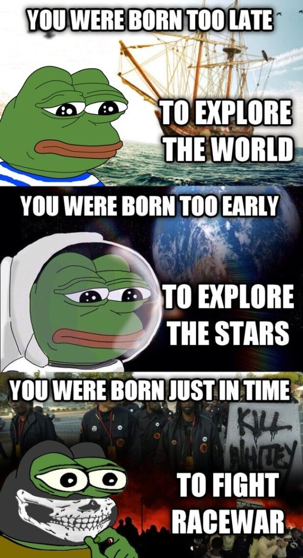 You were born too late to explore the world, you were born too early to explore the stars, you were born just in time to fight racewar, ca. 2016. Images via Facebook, Instagram, and Twitter. Courtesy of ICP Museum.