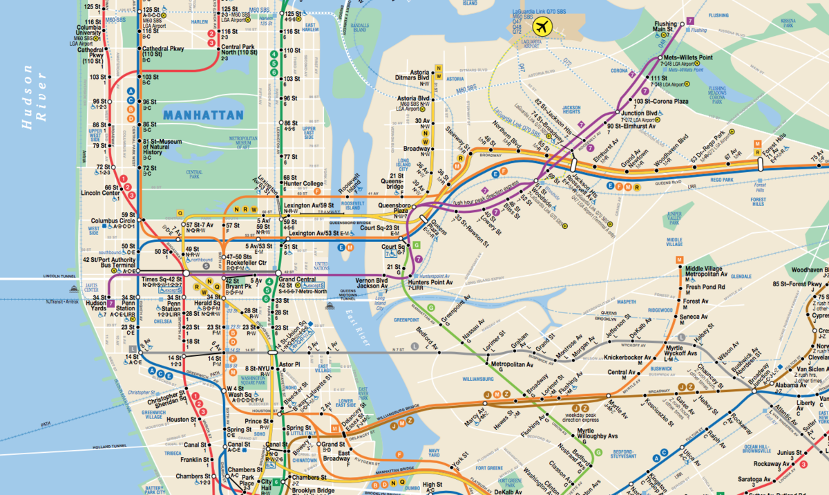 Map of New York City's subway system.
