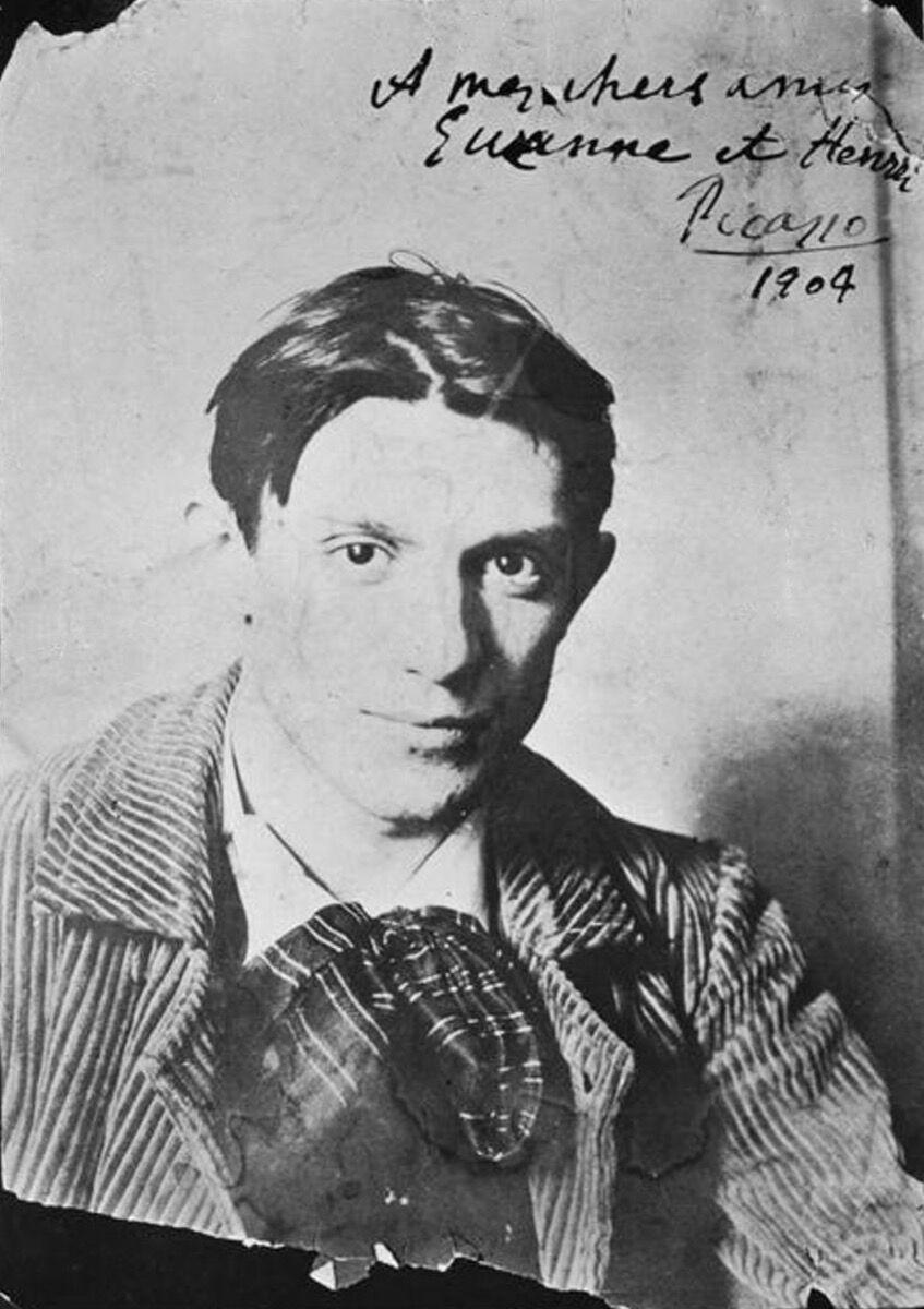 Portrait of Pablo Picasso in Ricardo Canals's studio, 1904. Photo via Wikimedia Commons.