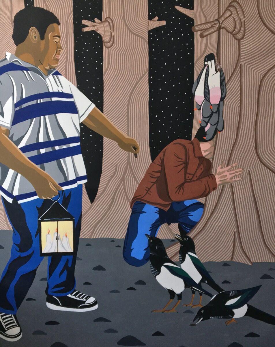 Nathan Catlan, The Bird Feeders, 2018. Courtesy of Davidson Gallery.