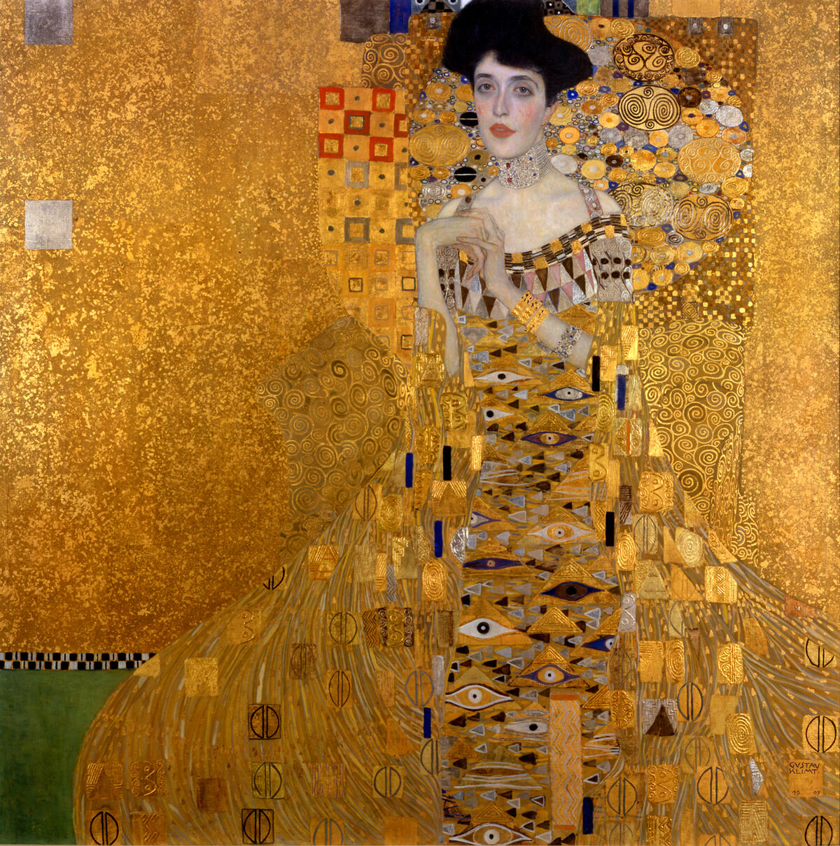 Gustav Klimt, Portrait of Adele Block-Bauer I, 1907. Image via Wikimedia Commons.