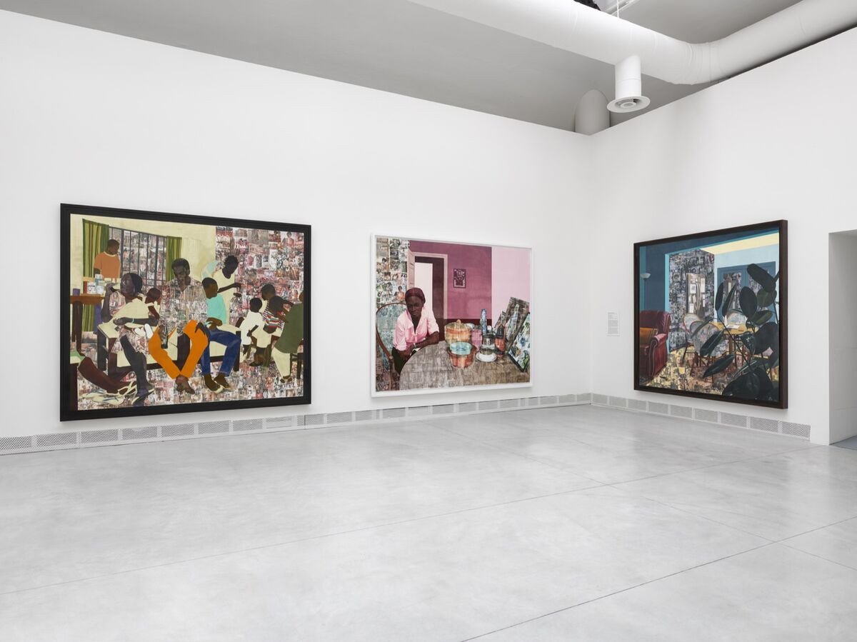 "Installation view of Njideka Akunyili Crosby, Various Works, 2012–17, at the 58th International Art Exhibition of La Biennale di Venezia, ""May You Live In Interesting Times,"" 2019. Courtesy of the artist, Victoria Miro, David Zwirner, and La Biennale di Venezia."