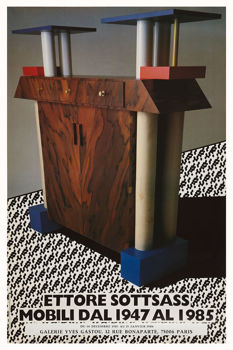 The poster for Galerie Yves Gastou's inaugural exhibition in 1985, featuring the work of Ettore Sottsass. Image courtesy of Galerie Yves Gastou