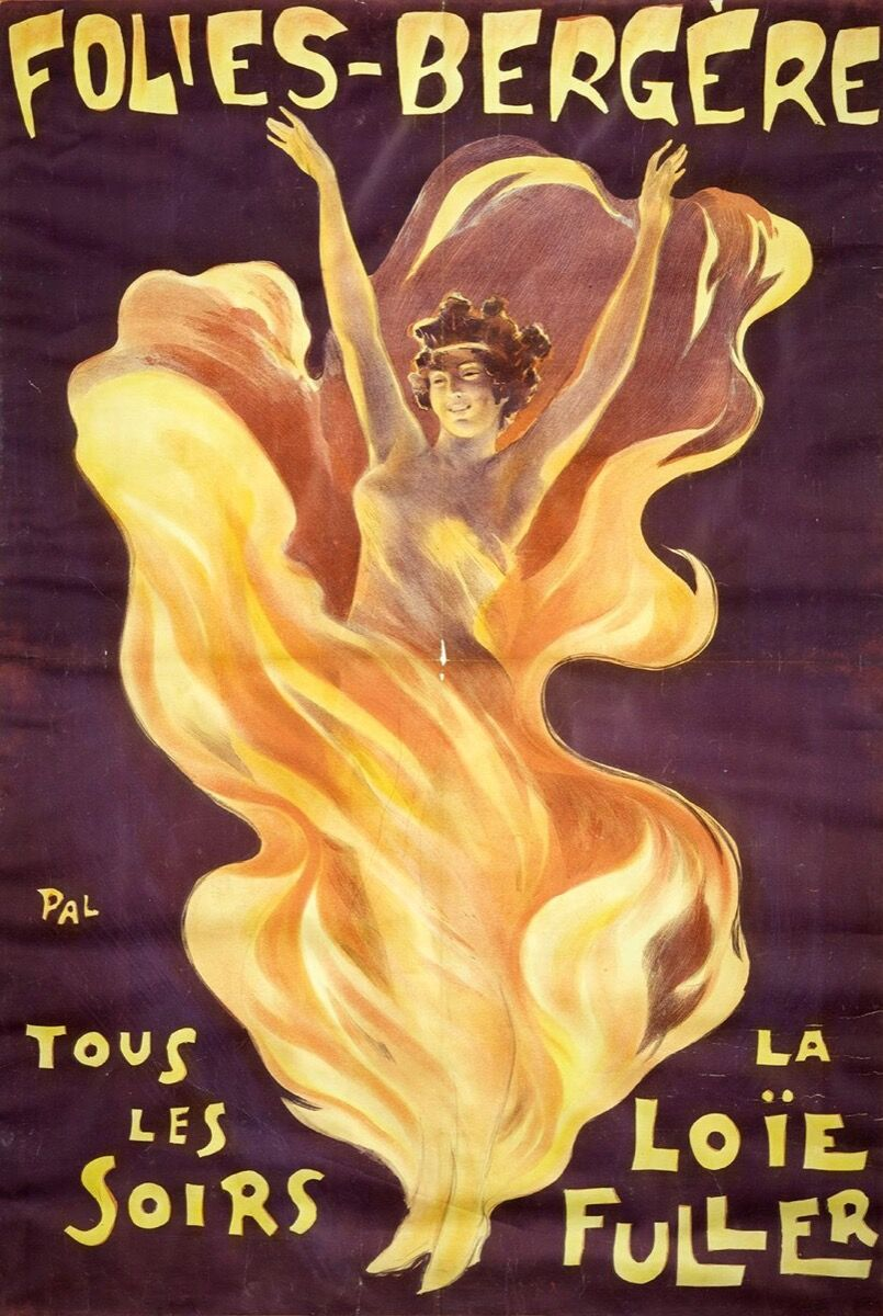 Folies Bergère poster advertising a performance by Loïe Fuller. Photo via Wikimedia Commons.