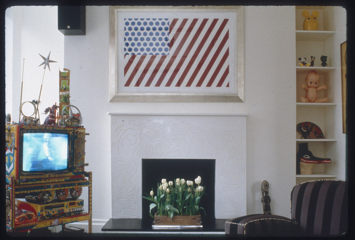 A work by Roy Lichtenstein hangs in Keith Haring's New York City apartment in 1989. Photo by Nancy Elizabeth Hill.