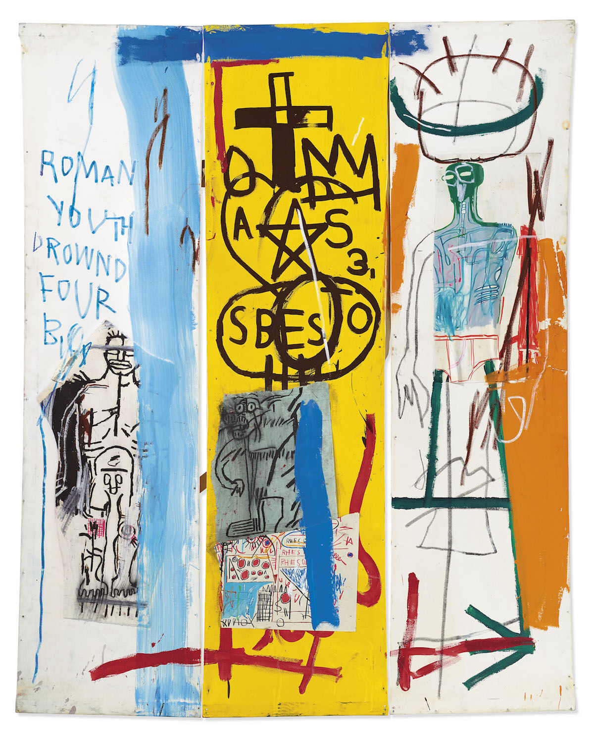 Jean-Michel Basquiat, Four Big, 1982. Est. £7.5 million–£9.5 million ($9.3 million–$11.8 million). Courtesy Christie's.