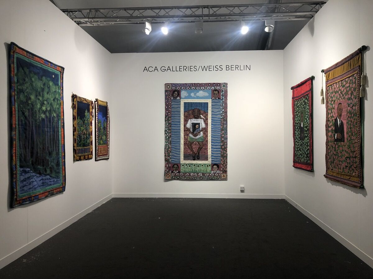 Installation view of ACA Galleries/Weiss Berlin's booth, showing work by Faith Ringgold, at Frieze London, 2018. Courtesy of ACA Galleries/Weiss Berlin.