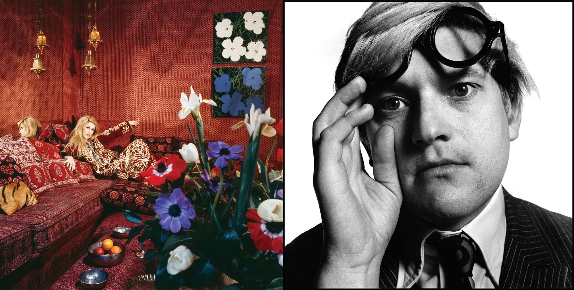 Left: Horst P. Horst, Around That Time- Jane Holzer, 1969. Courtesy of The Art Design Project. Right: David Bailey, David Hockney, 1969. Courtesy of Gagosian.