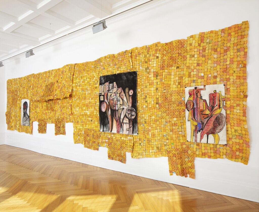 "Serge Attukwei Clottey, installation view of ""Sensitive Balance"" at GNYP Gallery, 2020. Courtesy of GNYP Gallery, Berlin."