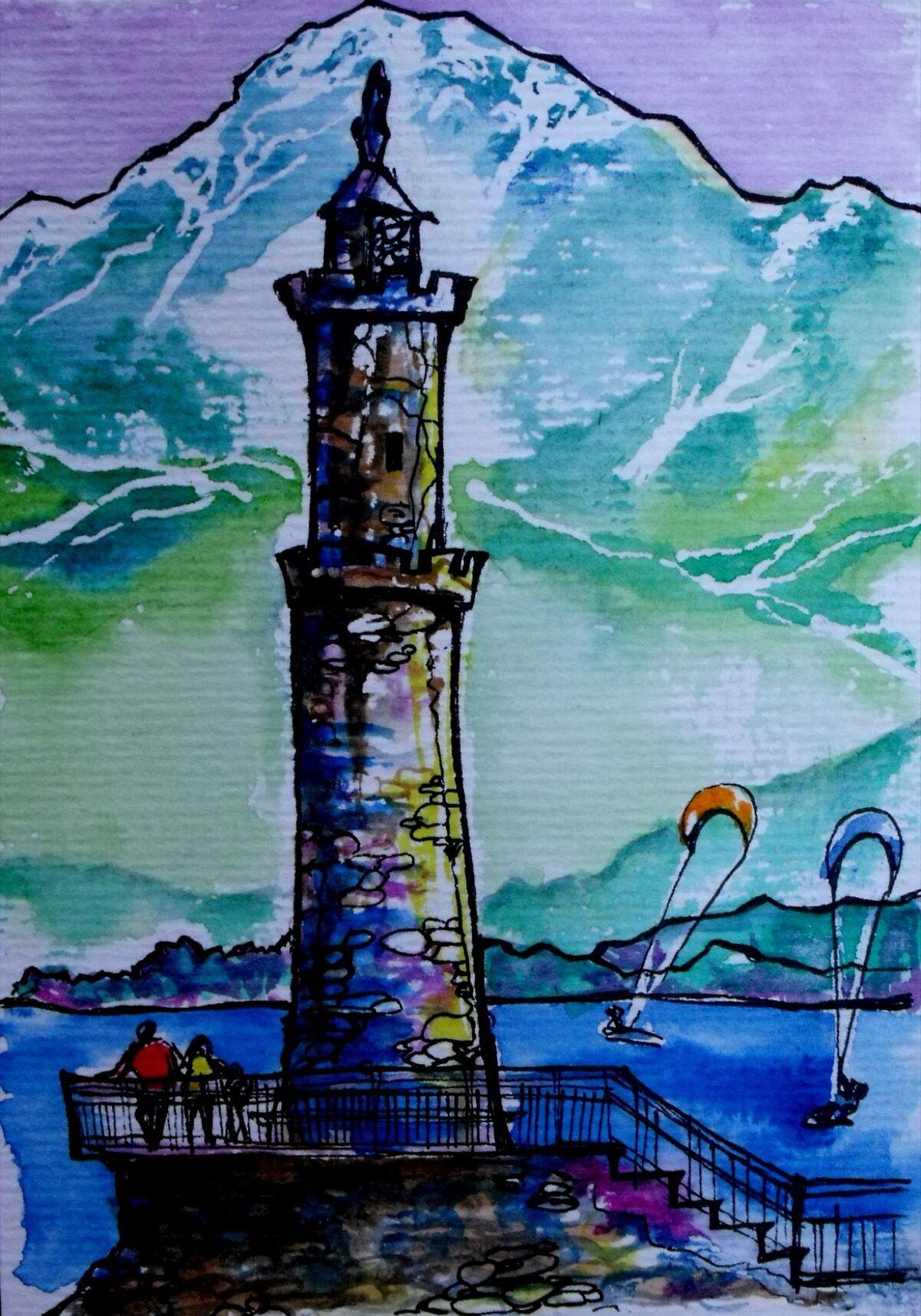 Alto Lario Lighthouse and Mt. Legnone where Leonardo hiked. Sketch by Nikki Martinez. Courtesy of the artist.