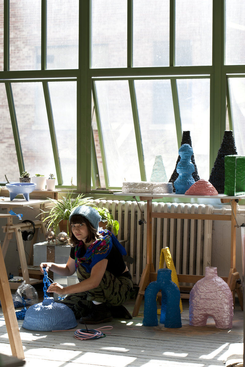 Katie Stout in her Brooklyn studio. Photo: Clemens Kois.