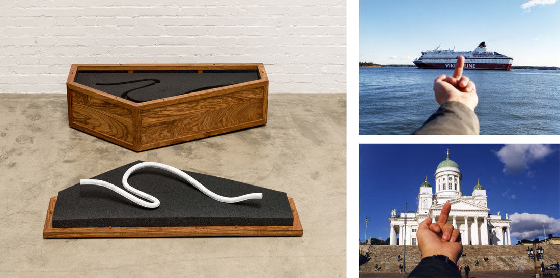 Left:Ai Weiwei, Rebar and Case, 2014.Courtesy of Ai Weiwei Studio. Right, top to bottom: Ai Weiwei, Study of Perspective, Viking Line, 2001; Ai Weiwei, Study of Perspective, Helsinki Cathedral, 2001.© Ai Weiwei, images courtesy of HAM Helsinki.