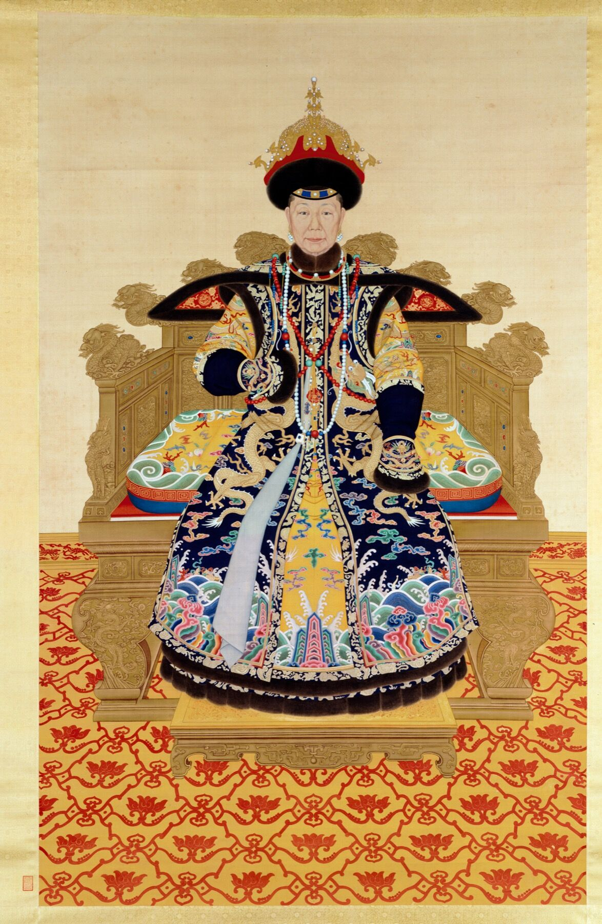 Probably Giuseppe Castiglione and other court painters, Empress Dowager Chongqing at the Age of Seventy, ca. 1761. © The Palace Museum.