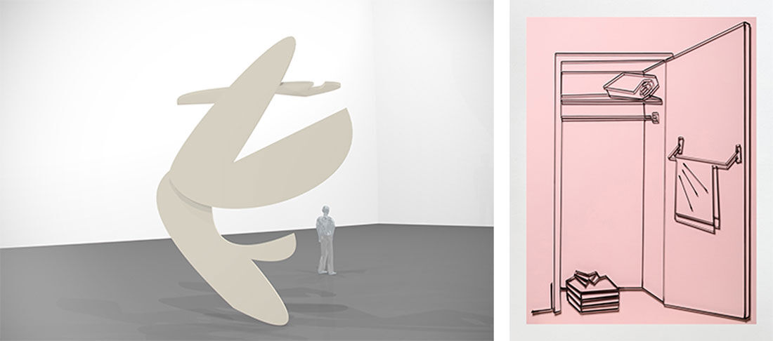 Left: Andy Boot, Untitled, 2016 at Galerie Emanuel Layr. Photo courtesy of Galerie Emanuel Layr and the artist; Right: Yonatan Vinitsky, If You Can See It, You Can Find It (The Pink Folded Shirts) S, 2016 at Limoncello. Photo courtesy of Limoncello and the artist. Courtesy of Dream Hong Kong.