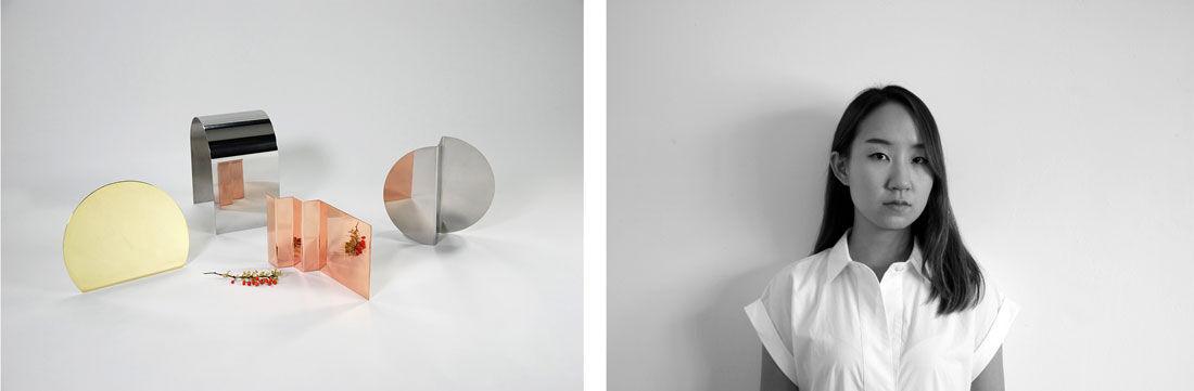Portrait of Nina Cho and photo of her Bent Mirror Series, 2014, courtesy of Nina Cho.