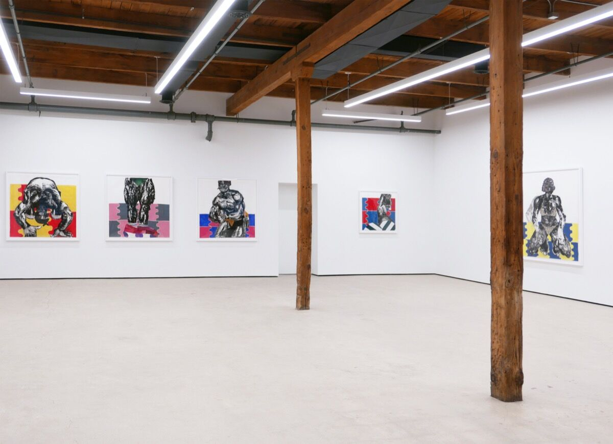 """Clotilde Jiménez, installation view of """"The Contest"""" at Mariane Ibrahim Gallery, 2020. Courtesy of Mariane Ibrahim Gallery."""