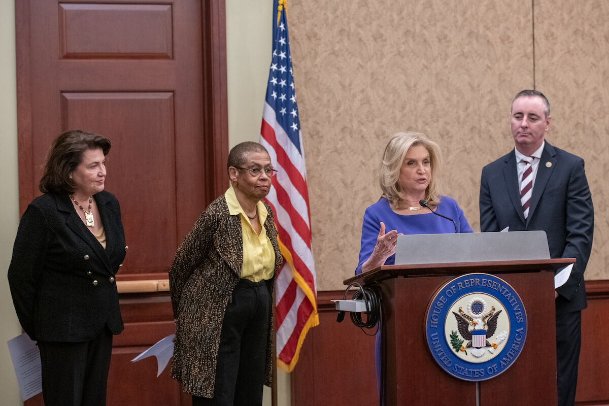 Congresswoman Carolyn B. Maloney (D-NY) speaks at a press conference regarding the expected passage of H.R. 1980, the Smithsonian Women's History Museum Act. Photo by Phi Ngyuen.