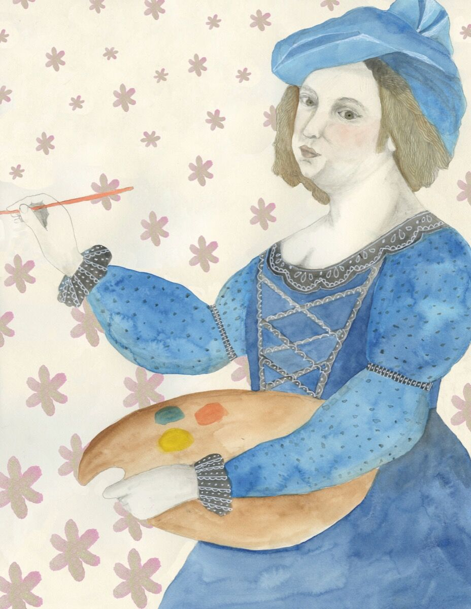 """Illustration of Artemesia Gentileschi by Lisa Congdon. From """"Broad Strokes: 15 Women Who Made Art and Made History (in That Order)"""" by Bridget Quinn. Published by Chronicle Books 2017."""