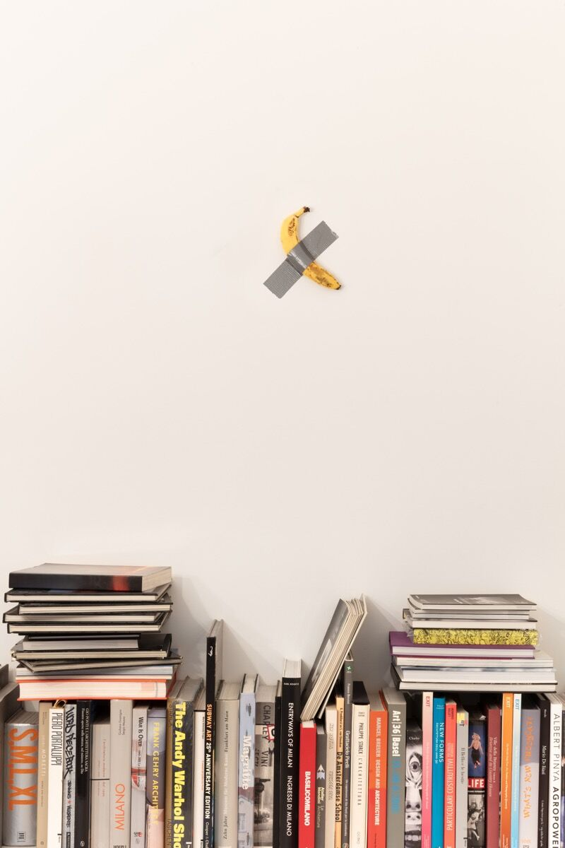 Installation view of Maurizio Cattelan, Comedian , 2019. Photo by Zeno Zotti. Courtesy of Perrotin.
