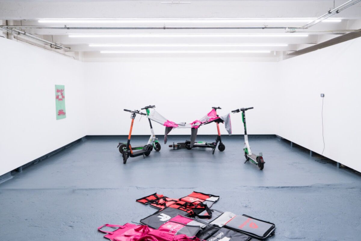 "Installation view of Aram Bartholl, ""Strike Now!!,""  2019. Courtesy of the artist."