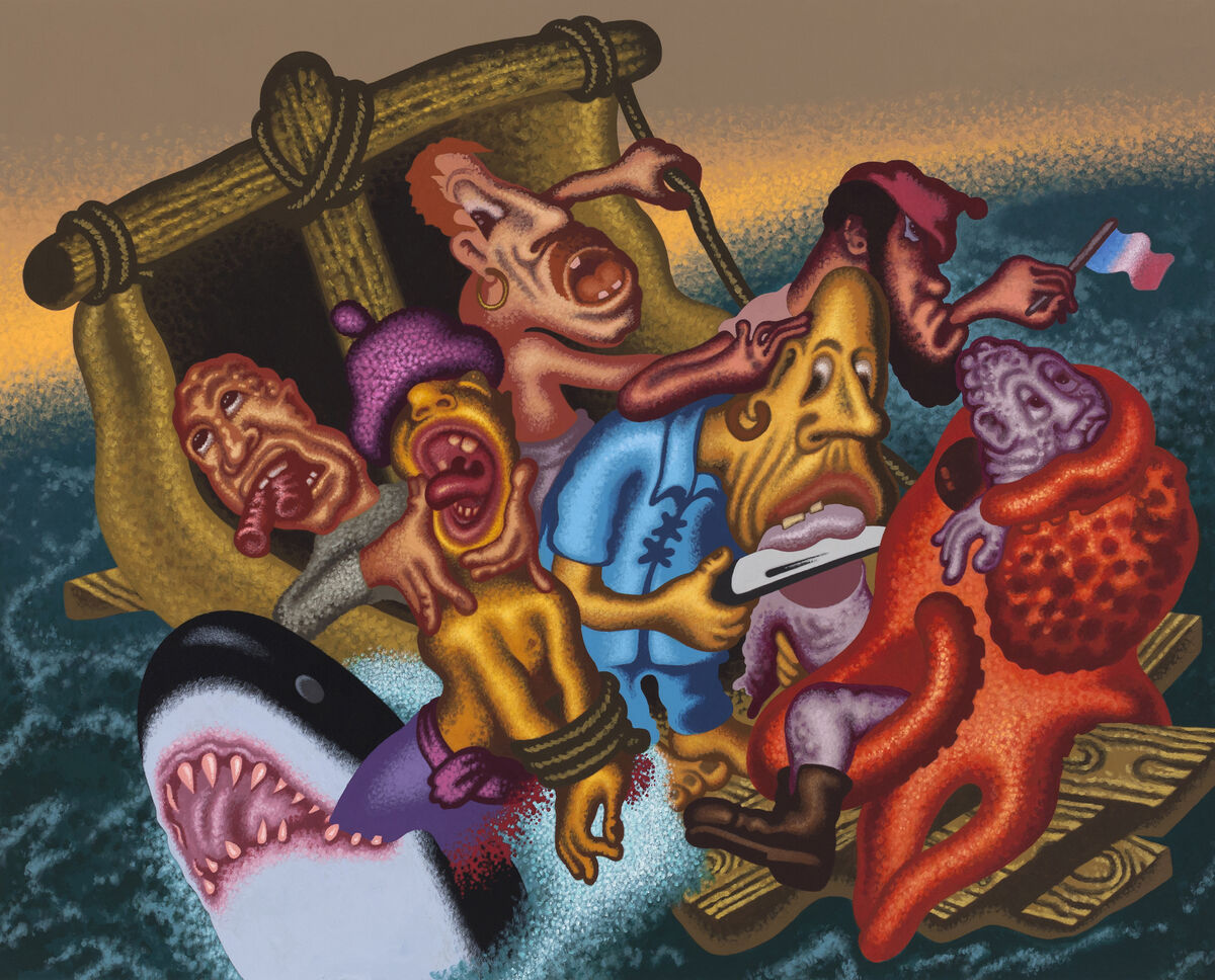 Peter Saul,Last Moments on the Raft of the Medusa, 2015. © Peter Saul, courtesy of Mary Boone Gallery.