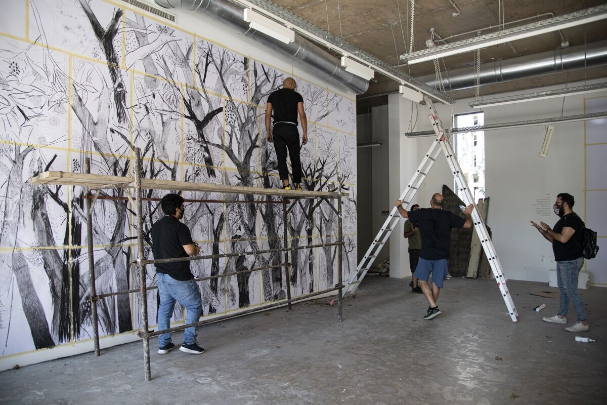 Abed Al Kadiri, in progress photo of Today, I Would Like to Be a Tree, 2020. Photo © Laetitia Hakim. Photo by Laetitia Hakim. Courtesy of Galerie Tanit.