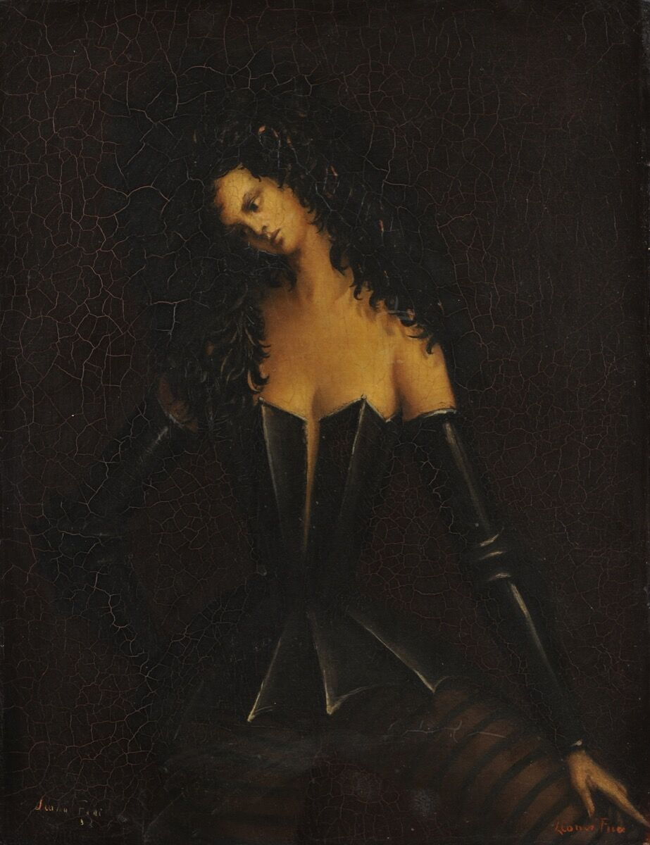 Leonor Fini, Woman in Armor I (Femme en armure I), c. 1938. Courtesy of Weinstein Gallery, San Francisco, and the Museum of Sex, New York.