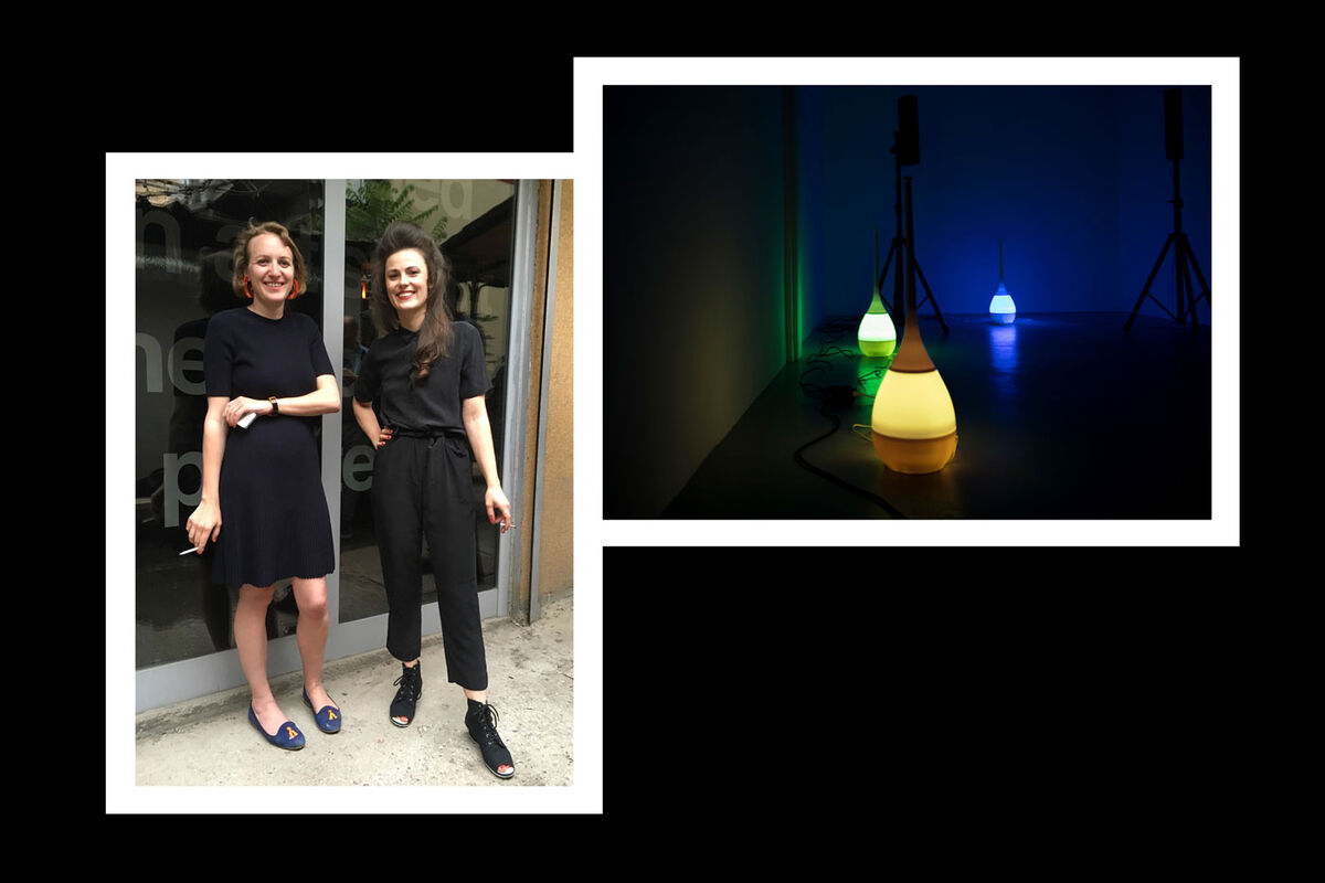 "From left: Portrait of Katharina Schendl and Isabella Ritter by Tina Herzl; installation view of Hanne Lippard, ""foul soul,"" at LambdaLambdaLambda, 2019. Both courtesy of LambdaLambdaLambda."
