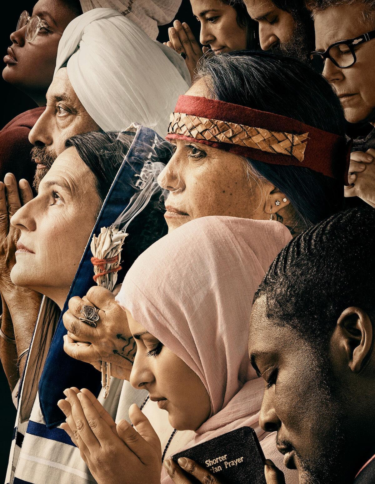 Interpretation of Norman Rockwell's Freedom of Worship by For Freedoms, featuring Rev. Edward Anderson, Maryam Nouh, Lydia Ponce, Rabbi Sharon Brous, Gurdev Kohli, Miehrit Kassa, Greta Ronningen, Amir Yakira, Claudia Pena.