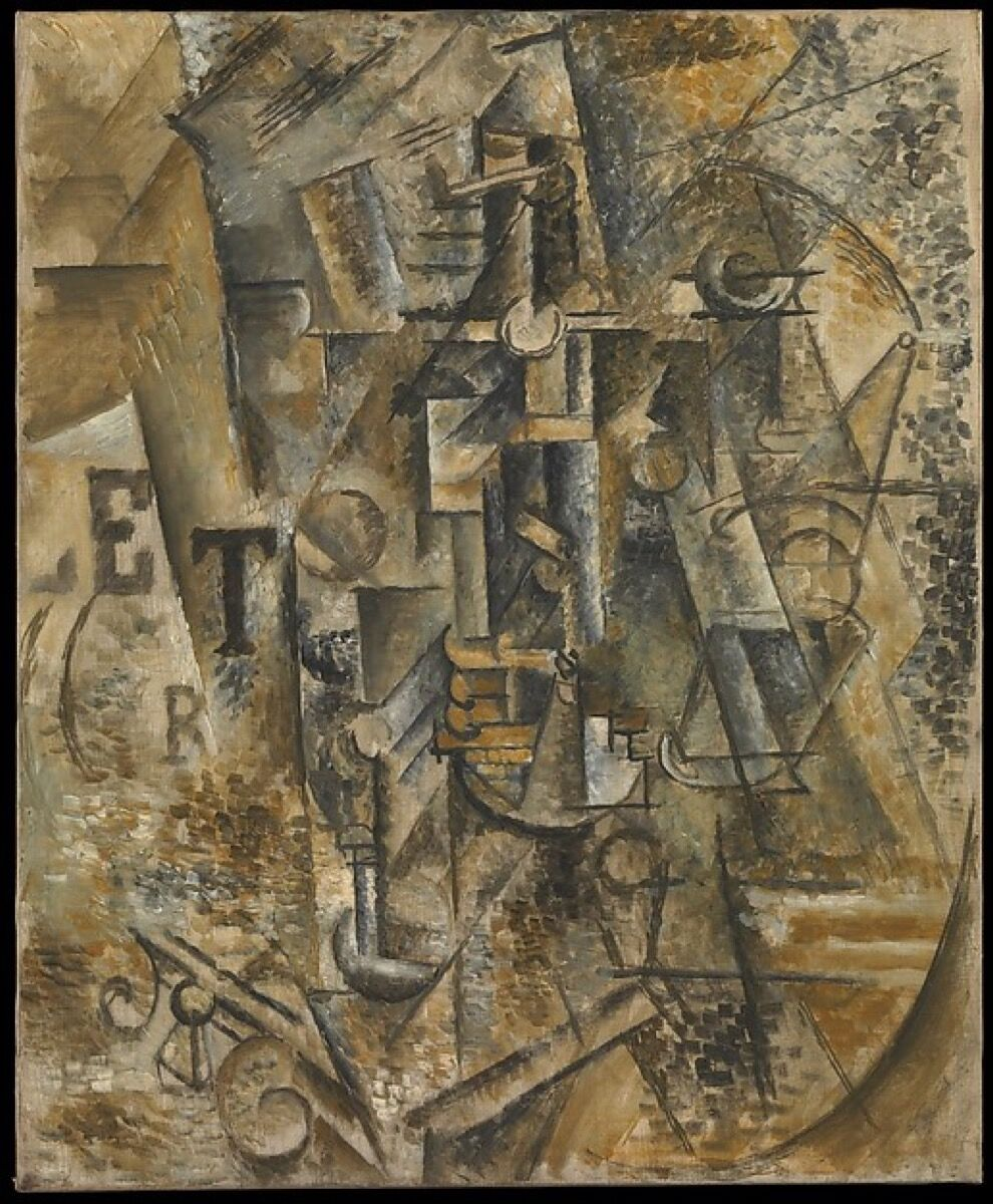 Pablo Picasso, Still Life with a Bottle of Rum, 1911. Jacques and Natasha Gelman Collection. © 2017 Estate of Pablo Picasso / Artists Rights Society (ARS), New York. Courtesy of The Metropolitan Museum of Art.