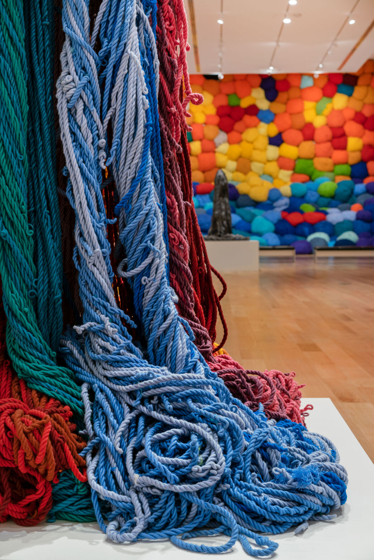 """Installation view of """"Sheila Hicks: Campo Abierto (Open Field),"""" at The Bass, 2019. Photo by Zachary Balber. Courtesy of The Bass, Miami Beach."""