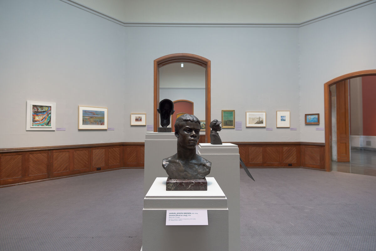 "Installation view of ""Awakened in You"": The Collection of Dr. Constance E. Clayton at Pennsylvania Academy of the Fine Arts, 2020. Photo by Adrian Cubillas. Courtesy of Pennsylvania Academy of the Fine Arts, Philadelphia."
