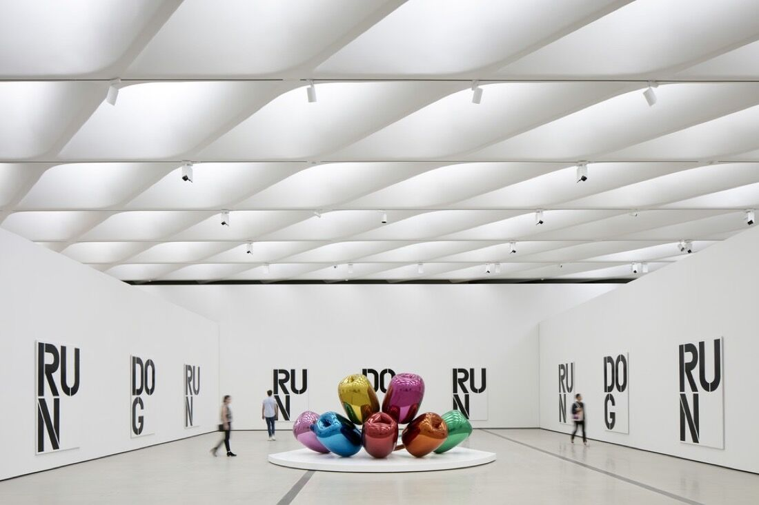 Installation viewof works by Christopher Wool and Jeff Koons in The Broad's third-floor galleries; photo by Bruce Damonte. CourtesyThe Broad and Diller Scofidio + Renfro.