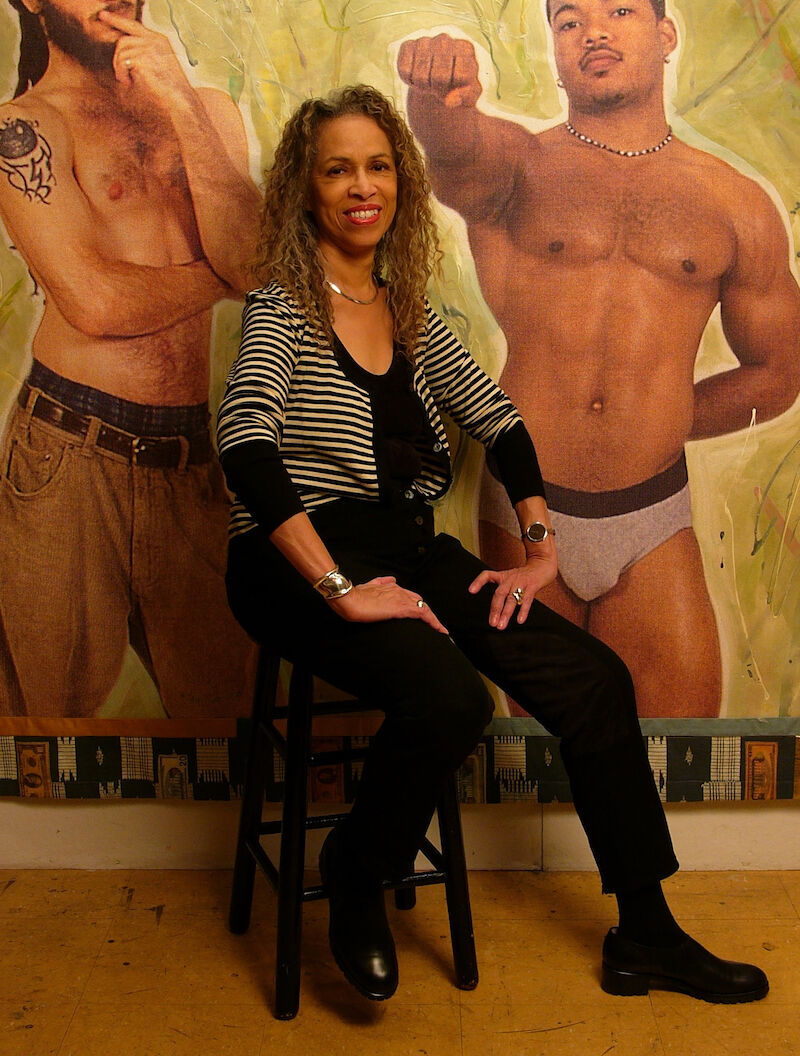 Emma Amos in her studio with Valued, 2006. Photo by Becket Logan, courtesy Ryan Lee.