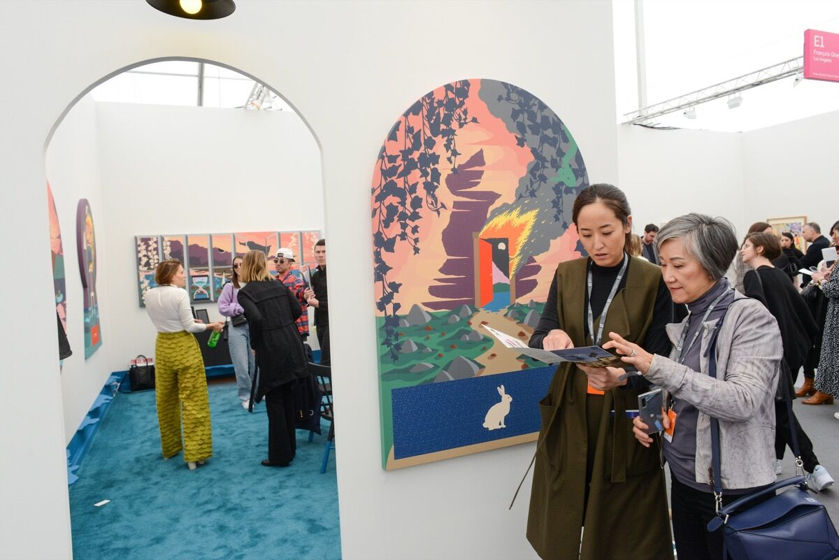 Installation view of Anat Ebgi's booth at Frieze Los Angeles, 2020. Photo by Casey Kelbaugh. Courtesy of Casey Kelbaugh/Frieze.