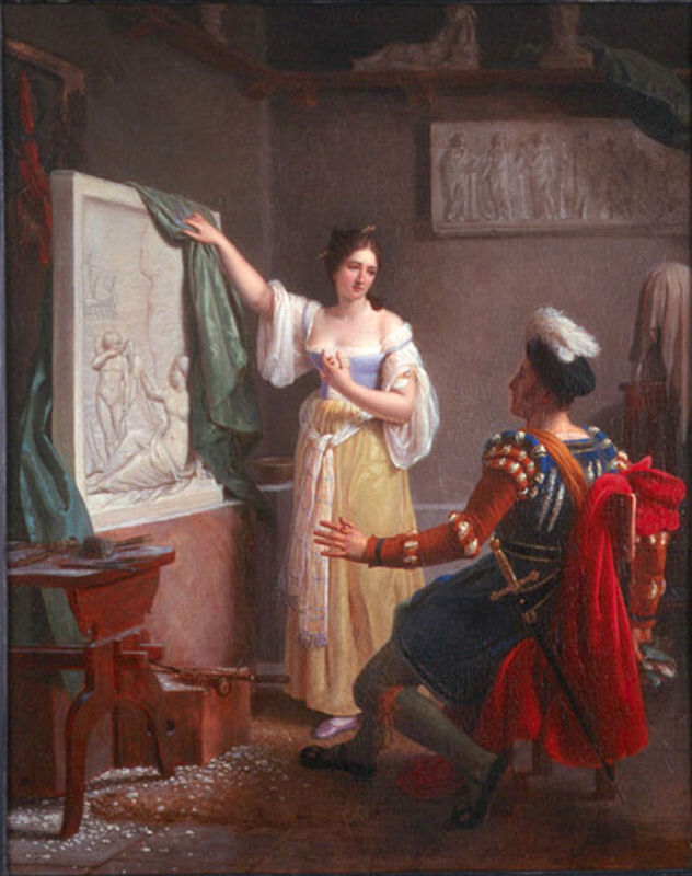 Louis Ducis, La sculpture: Properzia de Rossi et son dernier tableau, 1822. Photo via Wikimedia Commons.