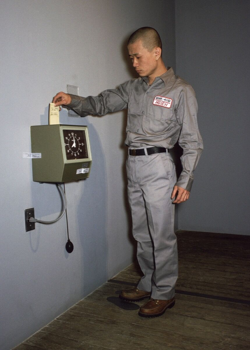 """Tehching Hsieh, One Year Performance 1980-1981, New York, """"Punching the Time Clock."""" Photo by Michael Shen. © 1981 Tehching Hsieh. Courtesy of the artist and Sean Kelly, New York."""