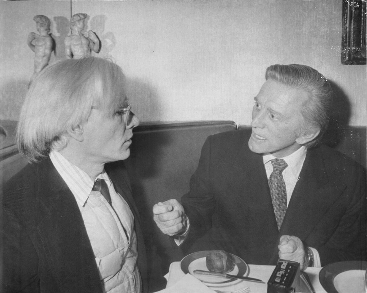 Andy Warhol interviews Kirk Douglas, 1978. Photo by Arty Pomerantz/New York Post Archives /(c) NYP Holdings, Inc. via Getty Images.