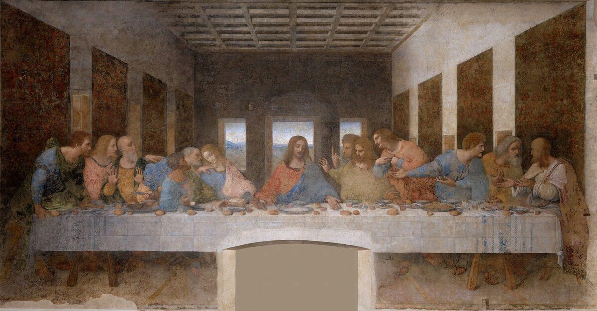 Leonardo da Vinci, La última cena, 1495-1498.  Imagen a través de Wikimedia Commons.