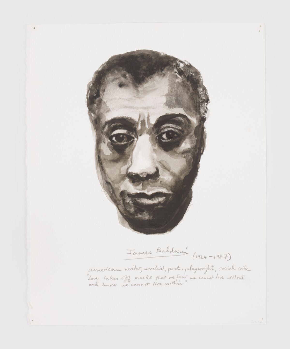 "Marlene Dumas,  James Baldwin,   2014, from the series ""Great Men,"" 2014–present. © Marlene Dumas. Courtesy of David Zwirner."