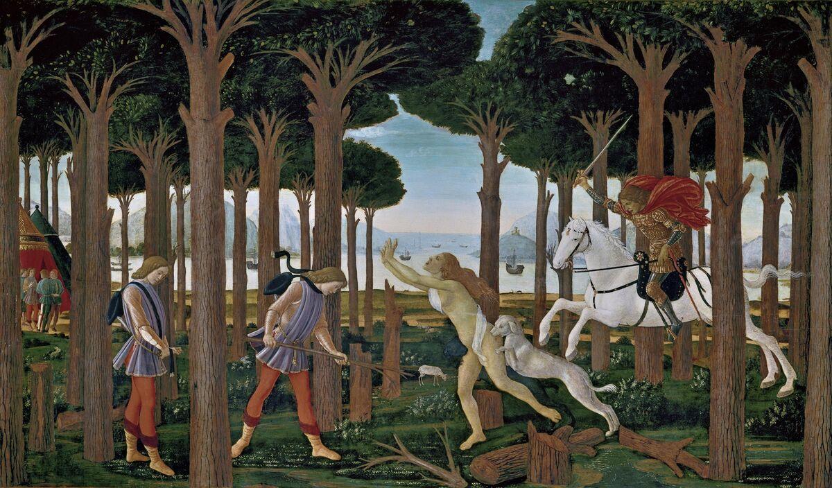 Sandro Botticelli, La historia de Nastadio Degli Onesti I, ca.  1483. Imagen a través de Wikimedia Commons.