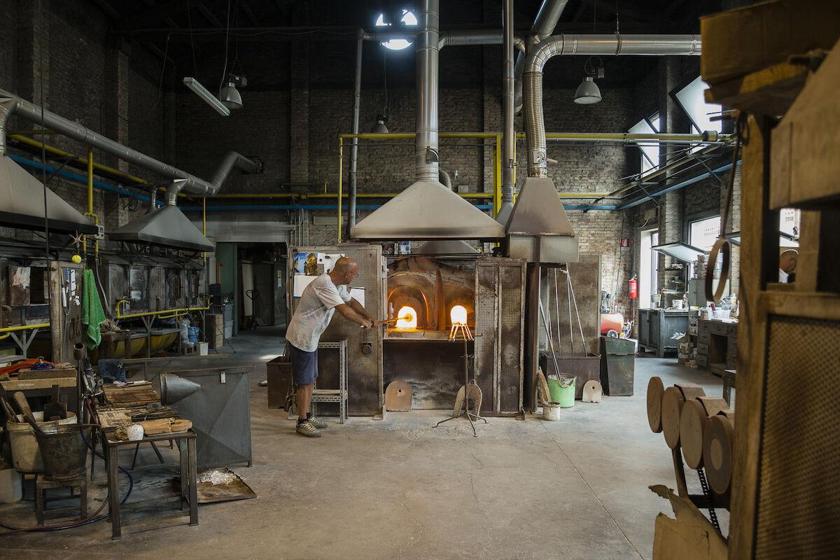 Inside Gambaro & Tagliapietra's glass furnace on Murano. Courtesy of Gambaro & Tagliapietra.