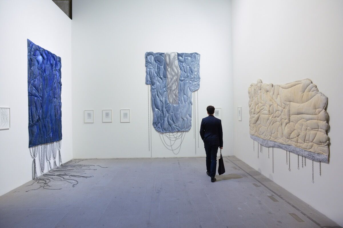 """Installation view of work by Achraf Touloub in """"Viva Arte Viva"""" at the 57th Venice Biennale, 2017. Photo by Casey Kelbaugh for Artsy."""
