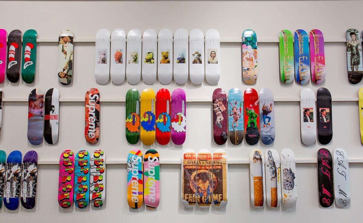 Artist-designed Supreme skateboard decks. Courtesy Sotheby's.