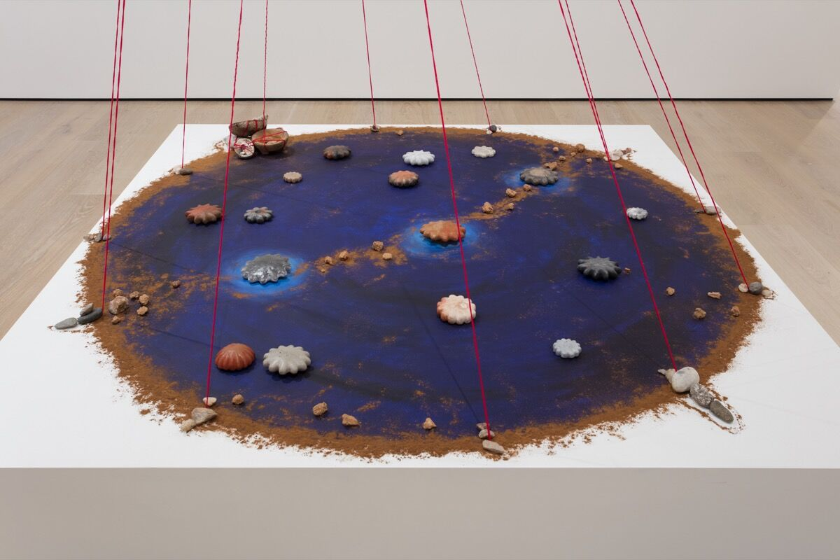"""Detail of Mercedes Dorame, Orion's Belt – Paahe'Sheshiiyot – A Map for Moving Between Worlds, """"Made in L.A. 2018"""" at the Hammer Museum, Los Angeles, 2018. Photo by Brian Forrest. Courtesy of the artist."""