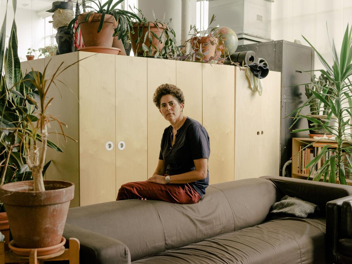 Portrait of Julie Mehretu in her Chelsea studio by Daniel Dorsa for Artsy.