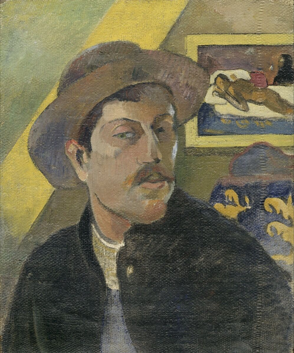 Paul Gauguin, Self-portrait with a hat, 1893–94. Image via Wikimedia Commons.