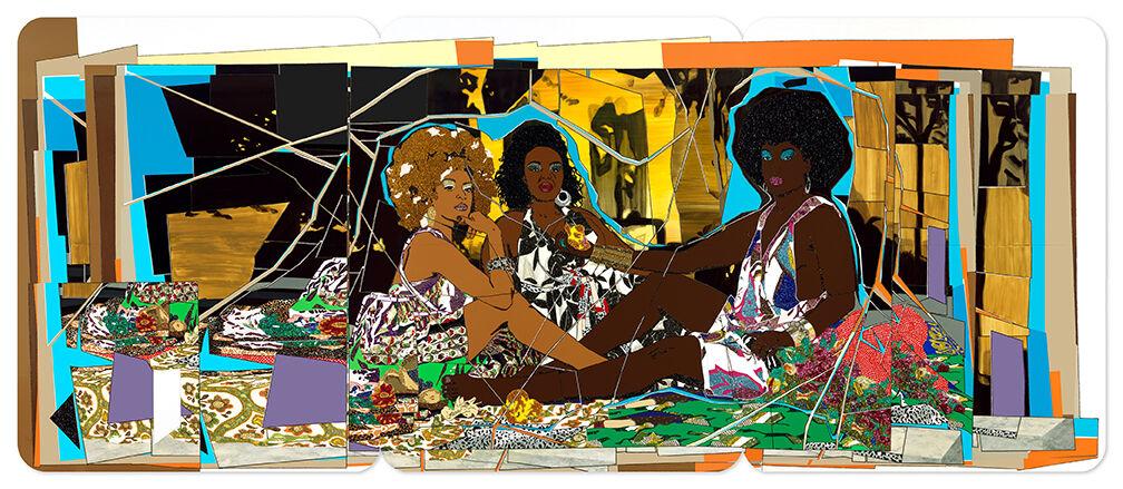 Mickalene Thomas, Le Déjeuner sur l'herbe: Les trois femmes noires, 2010. © Mickalene Thomas. Courtesy of Mickalene Thomas Studio.