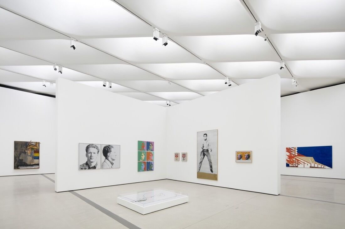 Installation viewof works by Robert Rauschenberg, Andy Warhol,and Ed Ruscha in The Broad's third-floor galleries; photo by Bruce Damonte.Courtesy of The Broad and Diller Scofidio + Renfro.